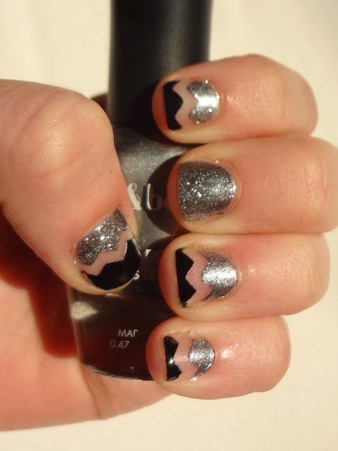 Black and silver chevron nails, silver glitter
