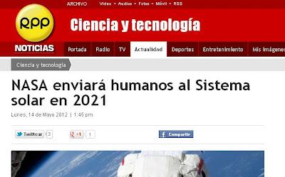 Nasa enviará humanos al Sistema solar en 2021