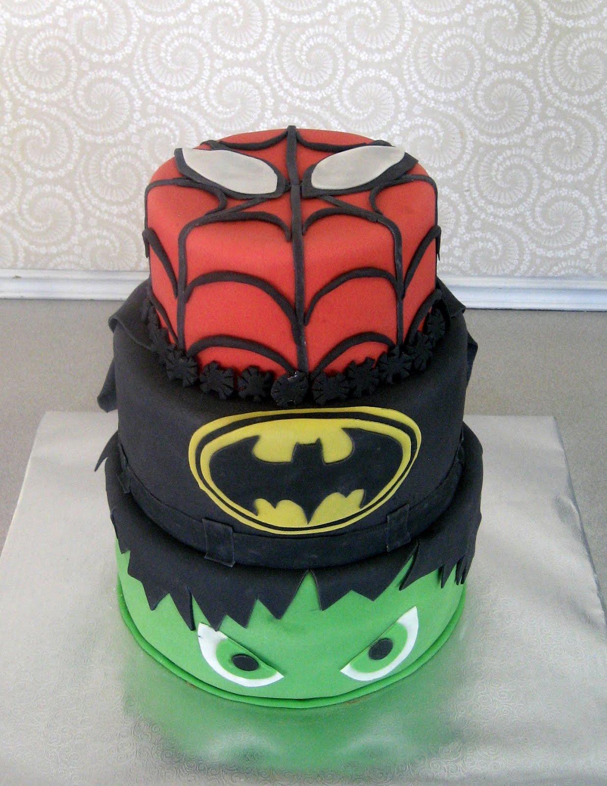 Devanys Designs Spiderman Batman and Hulk Cake