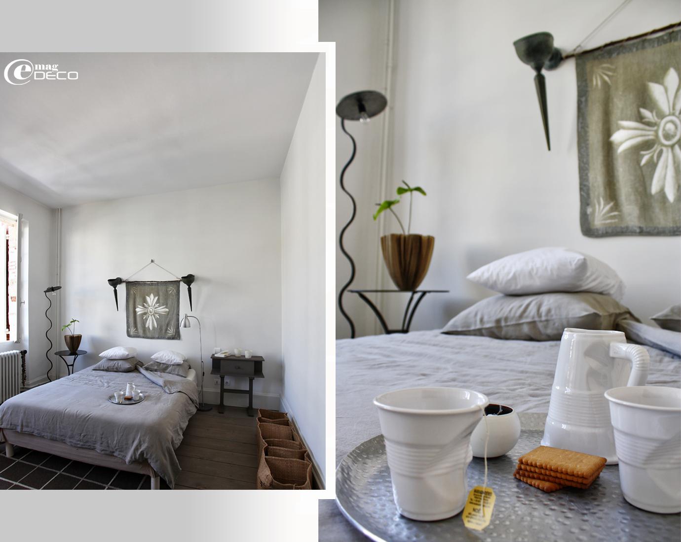 Simplicité d'une chambre parentale, décoration Béatrice Loncle à Agen