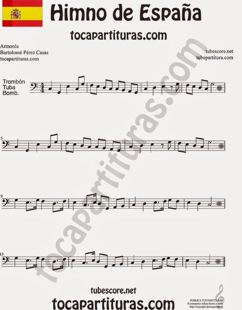 Himno Nacional Español Partitura de Trombón, Tuba Elicón y Bombardino Sheet Music for Trombone, Tube, Euphonium Music Scores