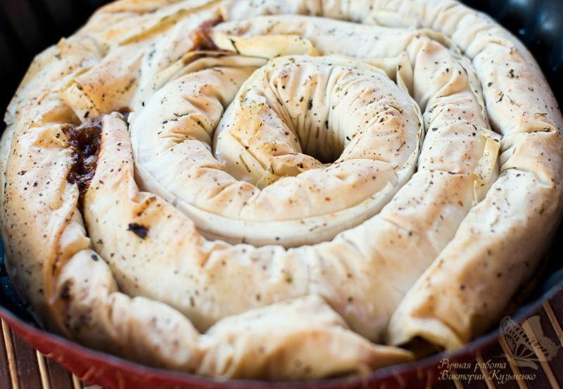 Необычный пирог с капустой и фило тестом