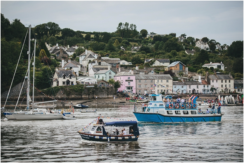 Wedding boat arrives on River Dart