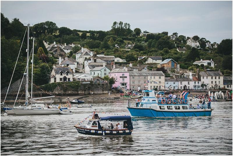 Wedding boat arrives on River Dart