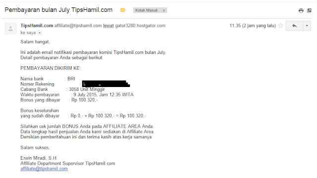 Pembayaran Pertama di Alfiliate Tipshamil.com