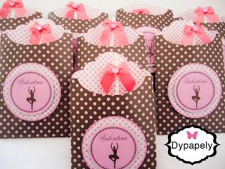 pirulitos envelopados personalizada bailarina poá rosa e marrom