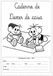 Títulos de caderno com a Turma da Mônica
