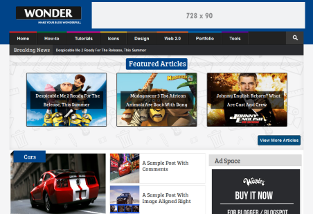 Template Wonder Para Blog de Noticias