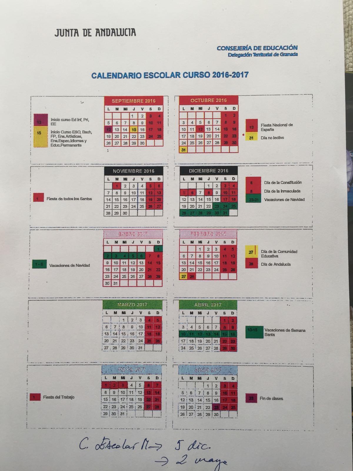 Calendario escolar curso 2016/17