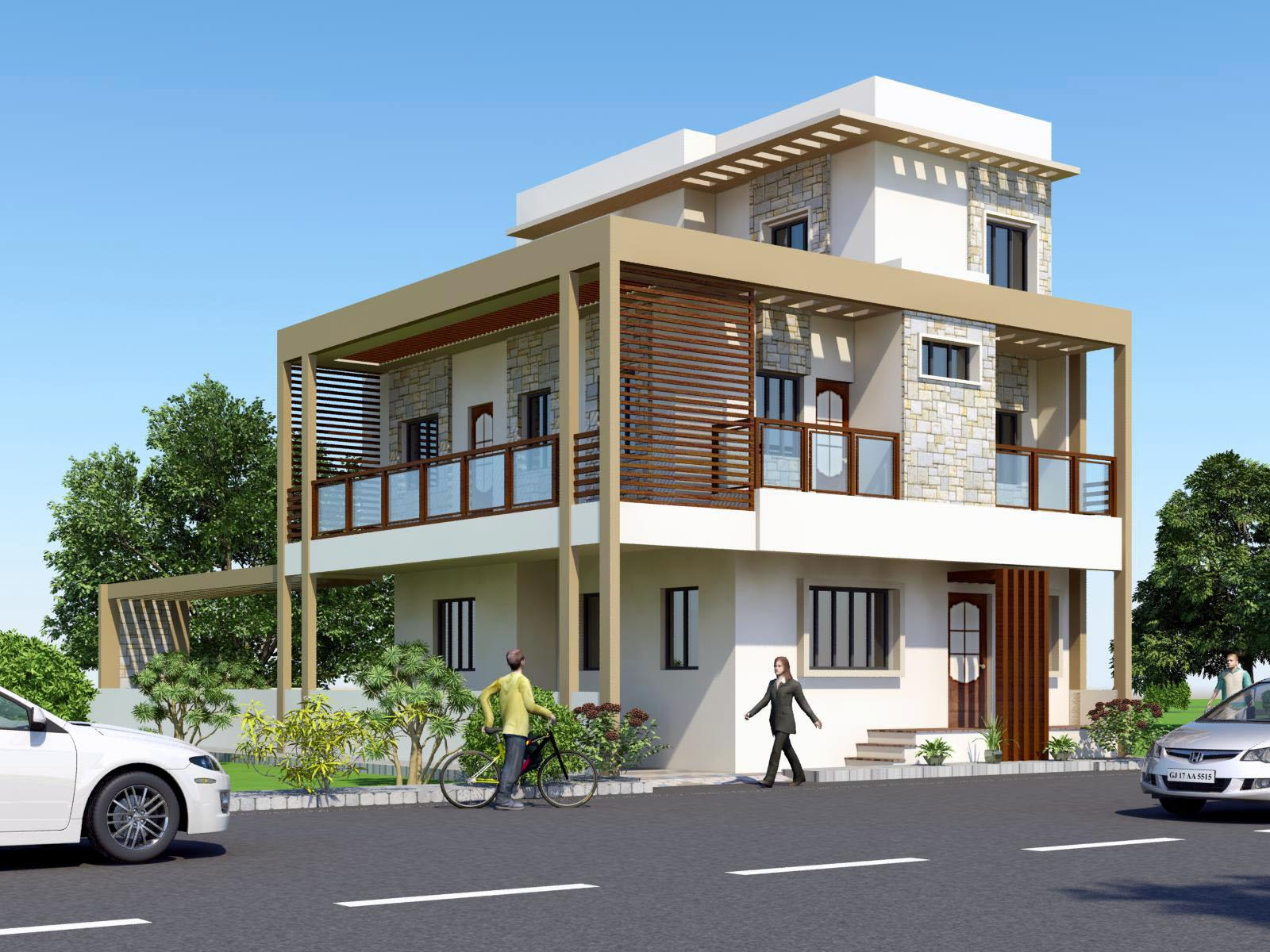 3D Front Elevation   India Pakistan House Design 3D Front