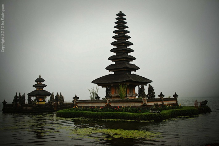 bali pagoda on water at bedugul lake area