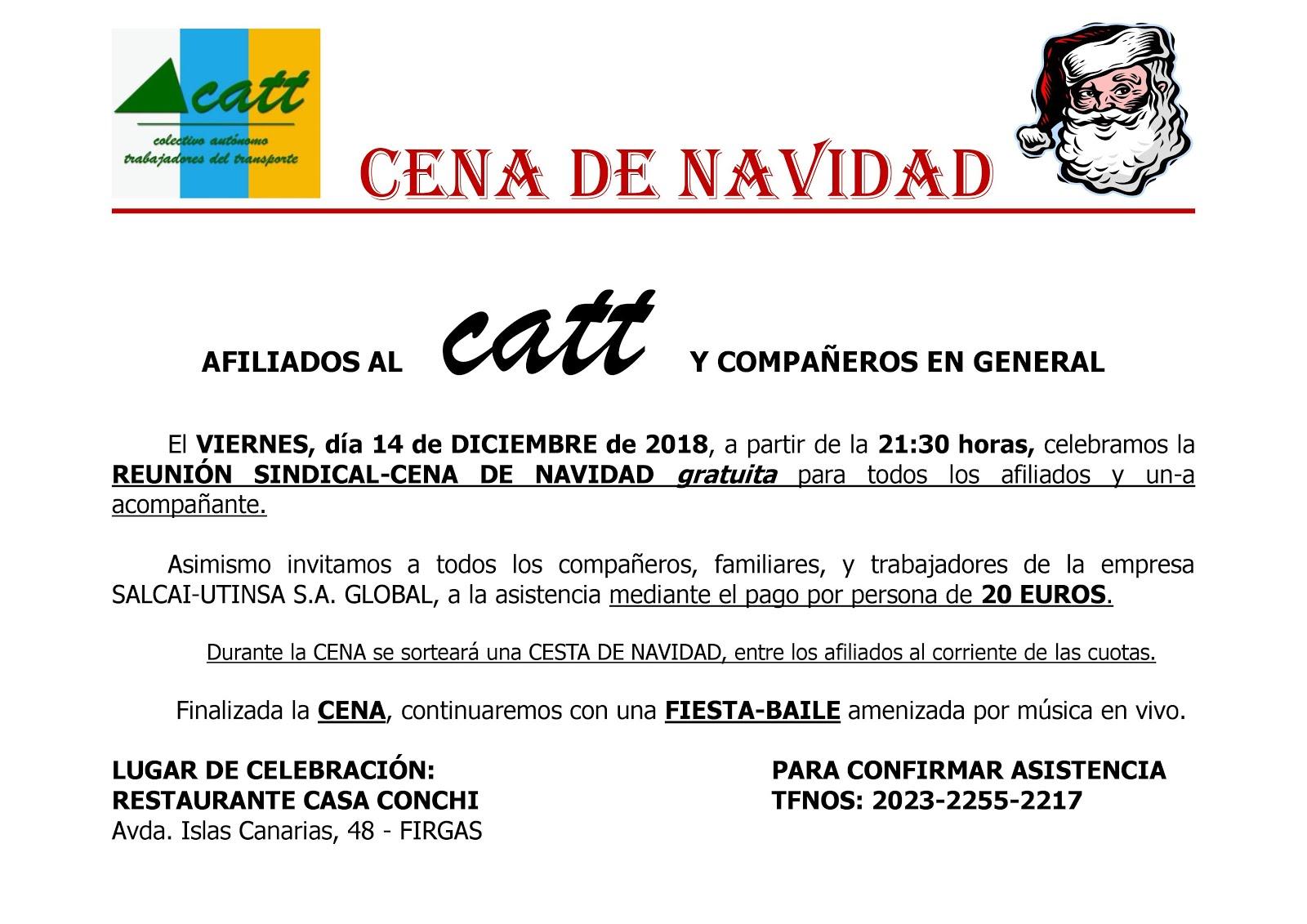 REUNIÓN SINDICAL-CENA DE NAVIDAD CATT 2018