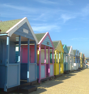 Southwold colourful chalets - pretty town on the East coast with blue flag beach