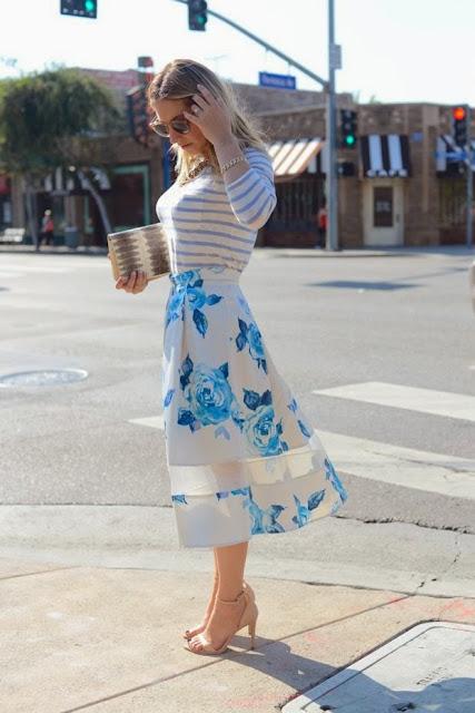 White Skirt With Blue Flower And White&Blue Stripes Shirt