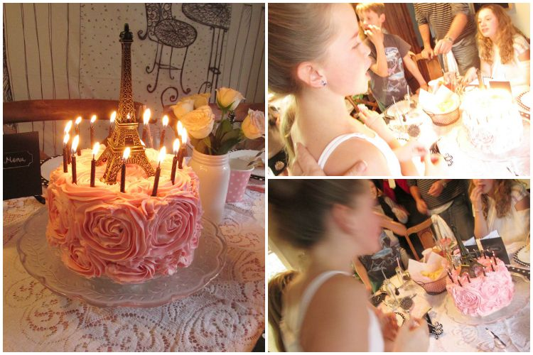 Pink rosette birthday cake - blowing out the candles