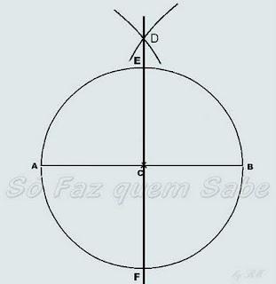 Traçar a perpendicular DC e encontrando-se os pontos E e F