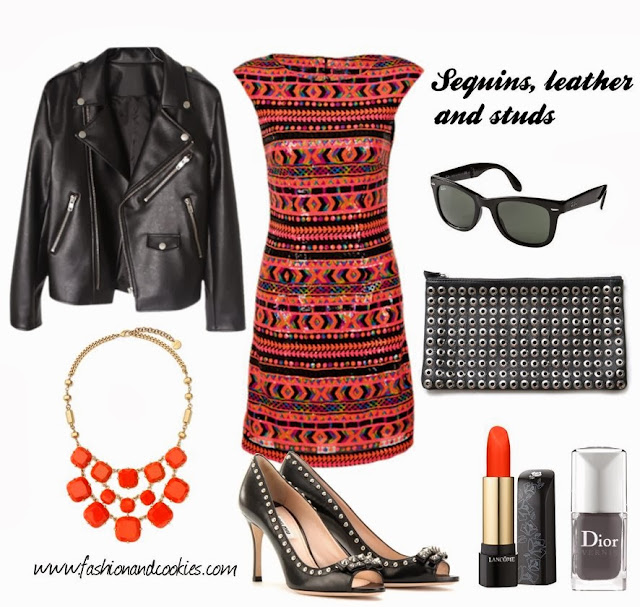 sequins leather and studs, Fashion and Cookies, fashion blogger