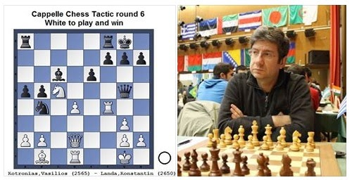 Lors de la ronde 5, Vasilios Kotronias avec les Blancs gagne contre Landa en un coup. Voyez-vous lequel ? - Photo © Chess & Strategy