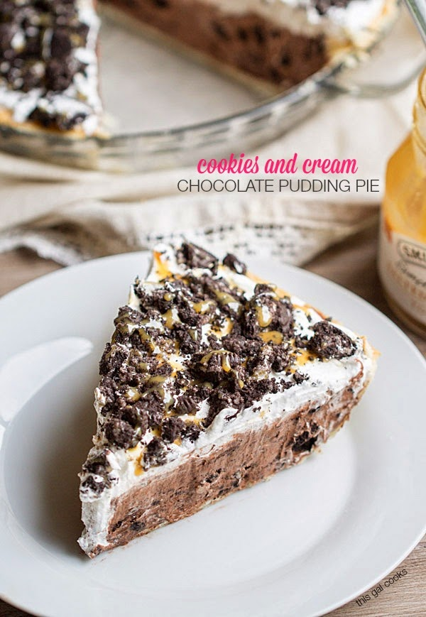 Cookies and Cream Chocolate Pudding Pie by This Gal Cooks
