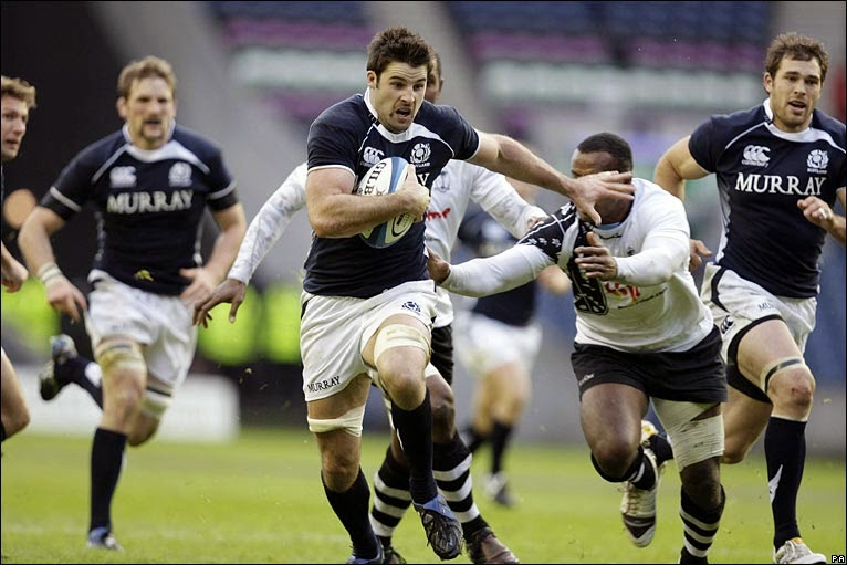 Scotland rugby team scoring a try