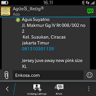 Konfirmasi alamat lengkao Agus Suyatrno oleh enkosa sport