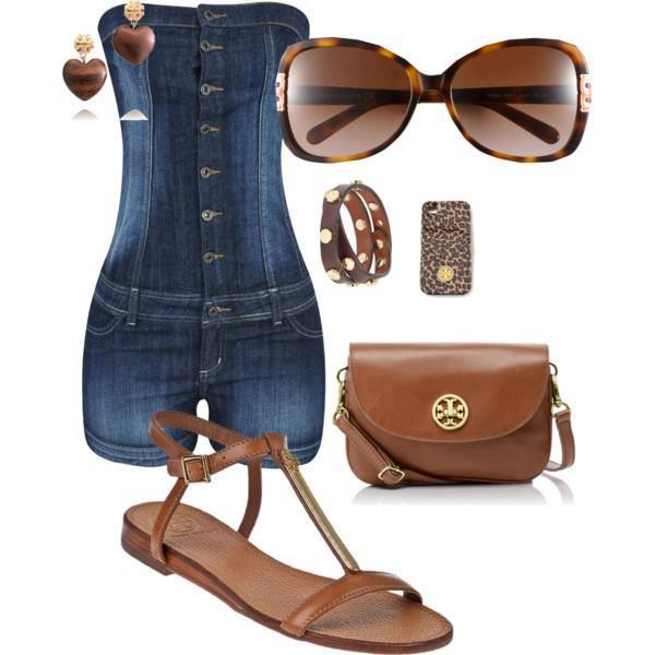 Mini skirt jeans, jeans blouse, sunglasses, brown hand bag and sandals