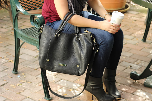 steve madden black tote, dsw black booties, fall look, ootd