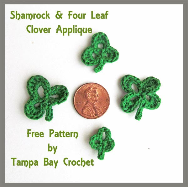 Free Crochet Patterns Four Leaf Clover : Tampa Bay Crochet: Free Crochet Pattern Release: Shamrocks ...