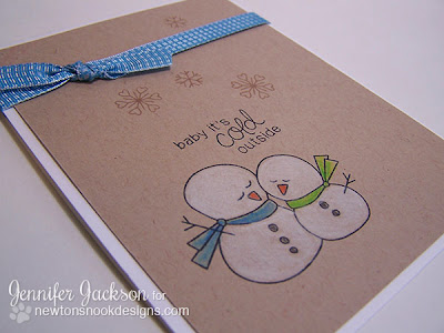 Snowman card using Frozen Friends stamps by Newton's Nook Designs