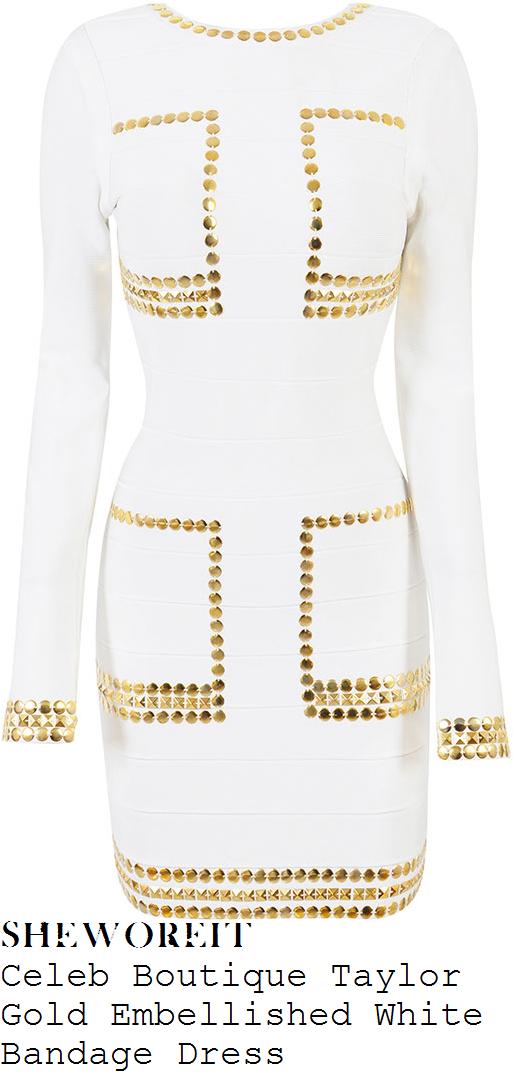 chloe-sims-white-gold-embellished-long-sleeve-bandage-mini-dress
