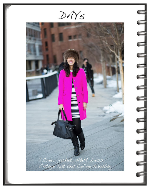 Jessica Moazami (aka Fashion Junkie) shot by Tres Awesome (Emma Arnold) in HOT PINK  J.Crew coat at NYFW