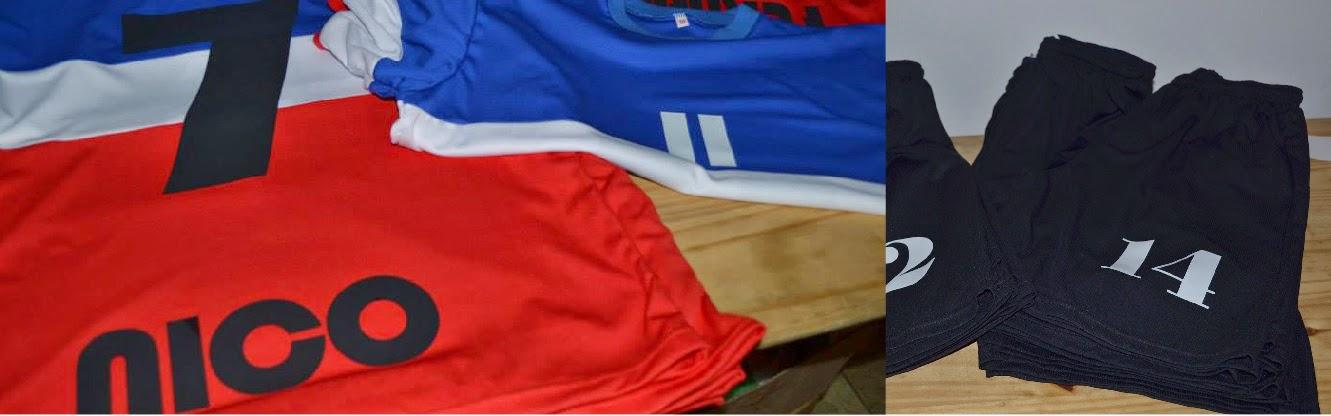 Camisetas y Pantalón de Fútbol. Estampada en vinilo negro y blanco (número  y nombre). e012566f7d588
