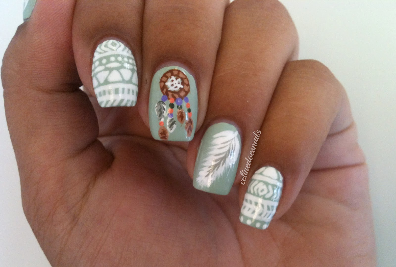 Nail art style dreamcatcher tribal nail art if anything the pictures i took of these nails turned out really good and usually that doesnt happen prinsesfo Image collections