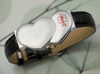 Style Athletics Sticky Jewelry Medical ID Leather BRacelet Heart