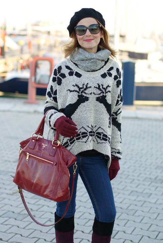 Sheinside deer print sweater, Miu Miu boots, Prada bag
