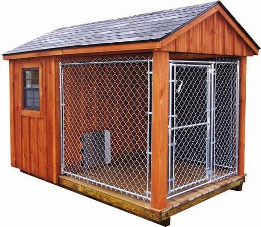Desain model kandang anjing penjaga di luar rumah