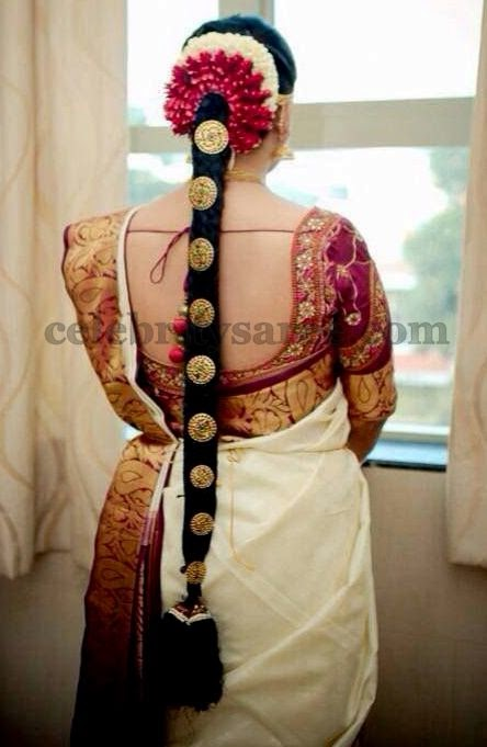 Cream Bridal Saree with Blouse