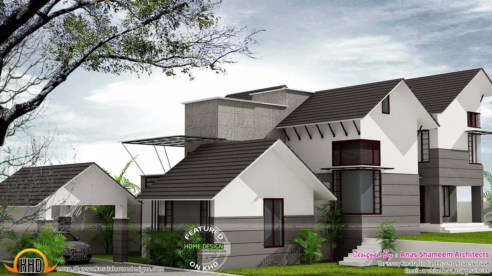 Contour site house architecture kerala home design and for Architecture design kerala house