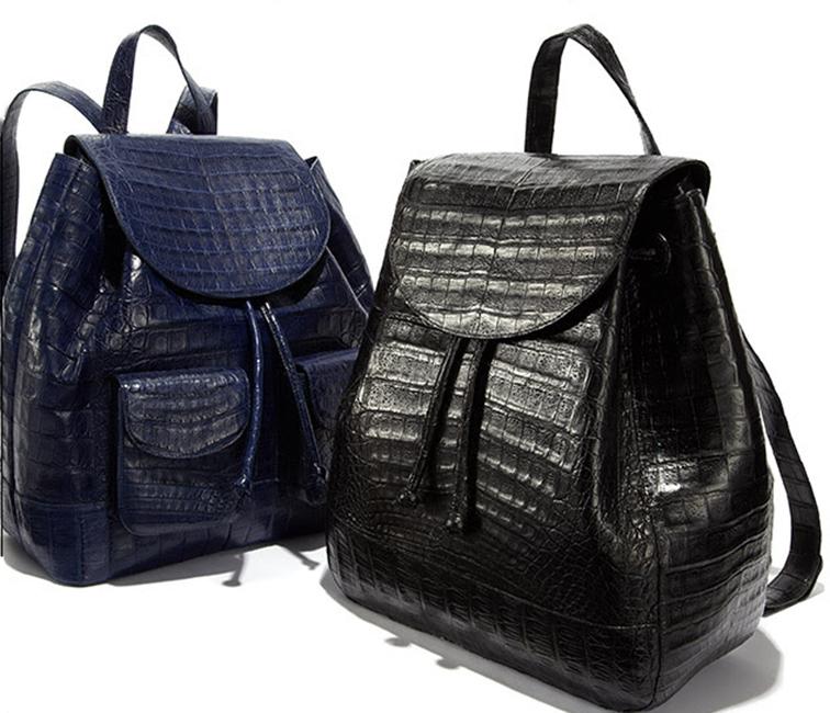 Nancy Gonzalez leather croc backpack, navy & black, fall 2014