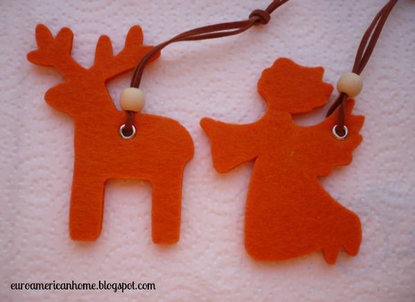 Felt reindeer and angel Christmas decorations EuroAmerican Home