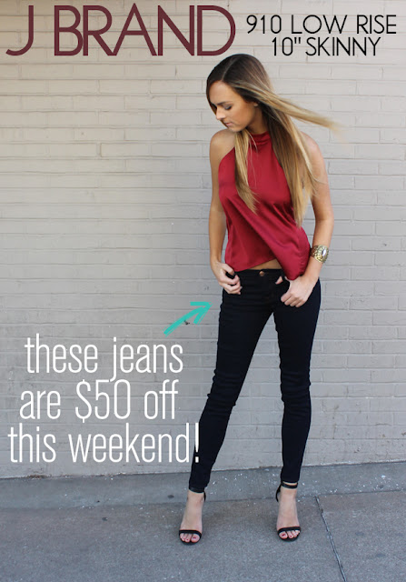"$50 off one of our FAVORITE skinnies of ALL TIME--J Brand 910 Low Rise 10"" Skinny Jean in Ink"