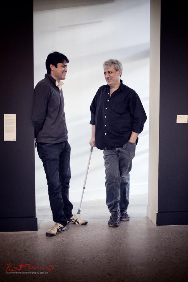 Artist portrait, Khadim Ali and Ruark Lewis at Hazelhurst Gallery for the Ruark Lewis 'Survey' opening 2012