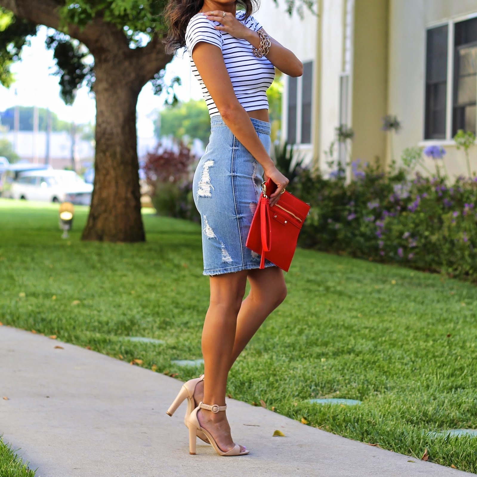lovers friends skirt, sole society accessories, how to wear denim skirt