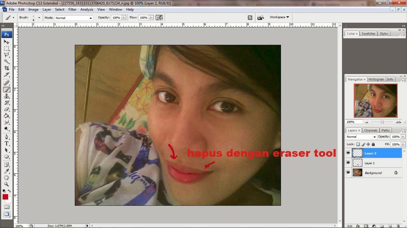 menghapus merah lipstik photoshop