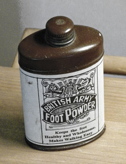 Trench foot, foot powder.  Auxiliary hospitals in World War One.