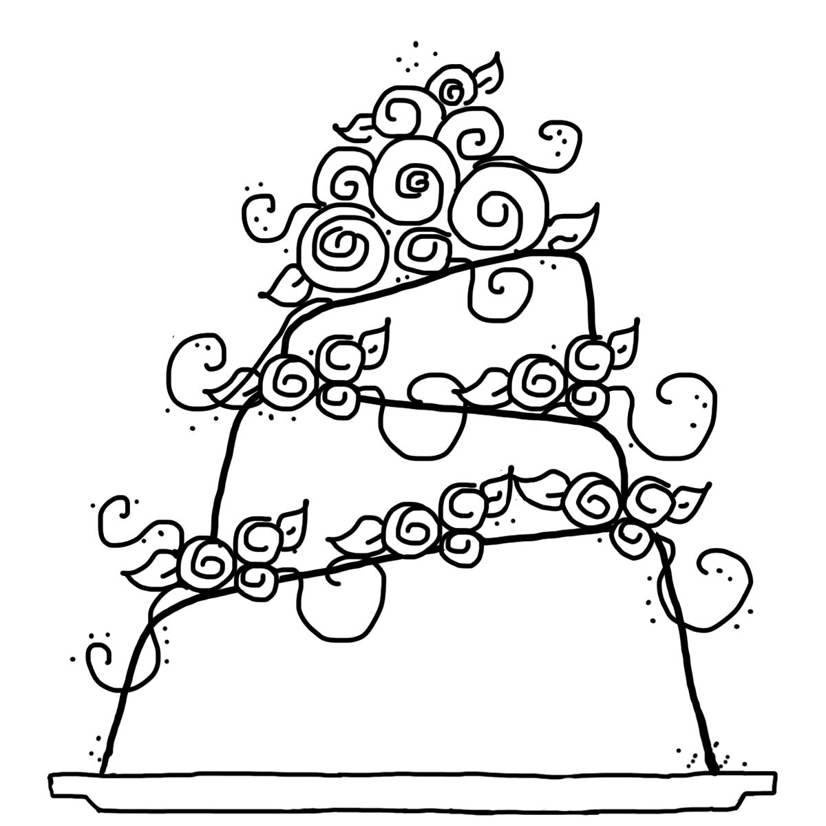 Free Coloring Pages Of Wedding Cake