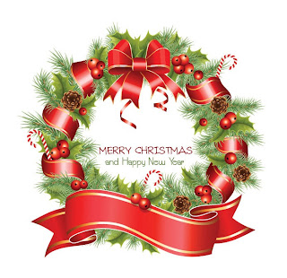 Merry Christmas and happy new year words inside the Christmas wreath decoration clip art image