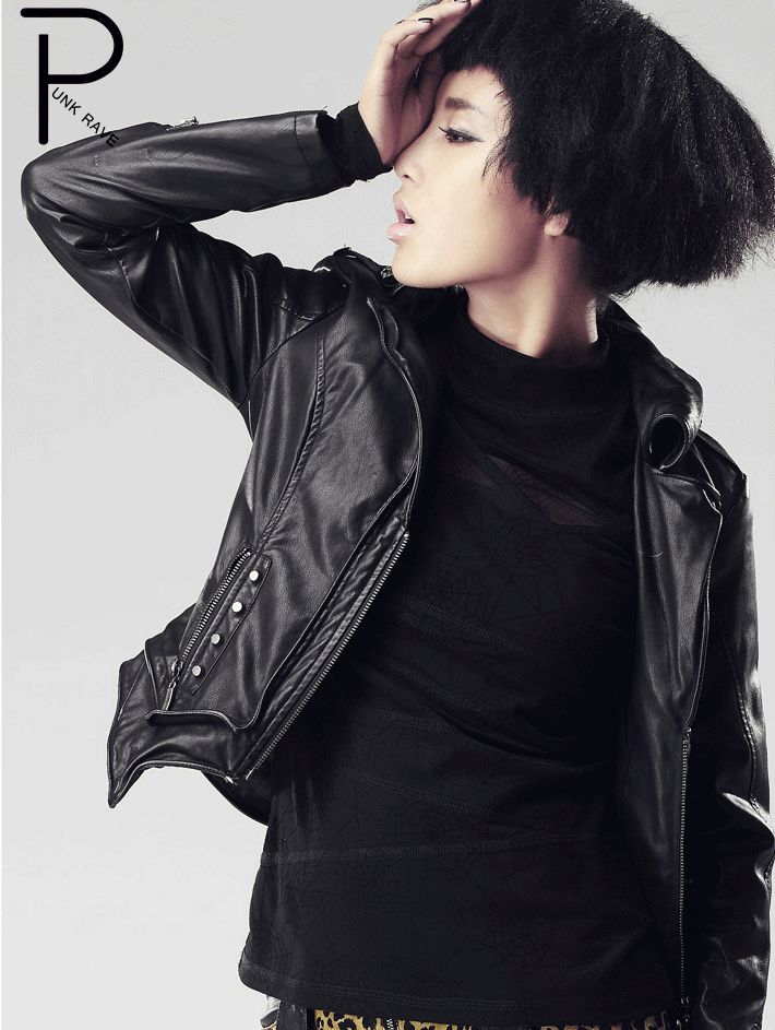 Black Punk Leather Jacket for Women