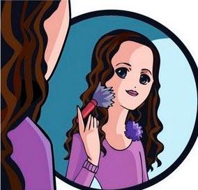 chica maquillandose dibujo