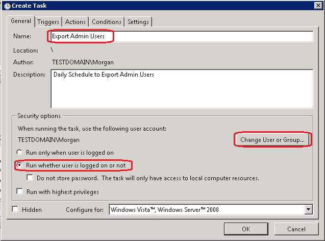 Schedule Task to Export AD Users to CSV using Powershell script